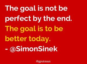 Quote: The goal is not to be perfect by the end but to get better today