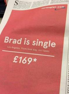 Great advertisement by Norvegian related to the Brangelina Split